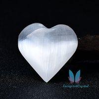 Beyaz Selenit El Yapımı Kalp Şekli Aşk Oda Dekor Kızlar Hediye Için 1 Çift