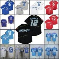 은퇴 한 6 Marcus Stroman Baseball Jersey 11 Kevin Pillar 12 Roberto Alomar Vintage Retro Cooperstown 메쉬 스티치 풀오버