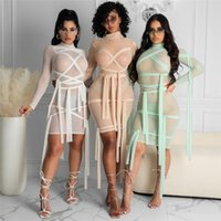 Skirt Female Clothing Through Bodycon Party Dresses Women Sexy Clubwear Solid Full Sleeve Mini Ribbons Mesh See