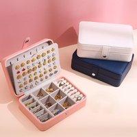 2021 Schmuckkasten PU-Leder Schmucklagerung Ohrring Boxen Verpackung Lagerung Display Case Organizer für Home Reise Mädchen Geschenk
