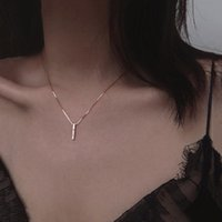 Chains Initial Simple Strip Geometric Cubic Zircon Necklace Silver Color Clavicle Chain Charm For Women