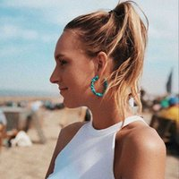 보헤미안 푸른 녹색 돌 청록색 간단한 C 빨간색 반지 귀걸이