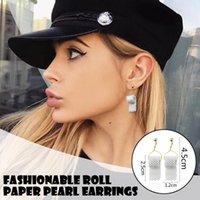 Earings Commemorative Toilet Roll Hoop Earrings Fashion Pearl Paper Earring Ear Hook Pendientes Kolczyki Damskie & Huggie