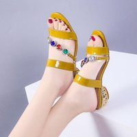 Sandals 2021 Summer Style Rhinestone Slippers Fashion Women's Shoes Outer Wear Mid-heel Thick Heel Open-toe