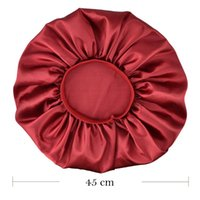 Plus Size Satin Silky Bonnet Sleep Night Cap Waterproof Head Cover Hat For Curly Springy Hair Shower Caps HFing