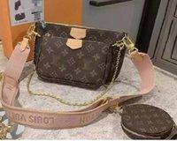 Com Código Data Mulheres Handbags Multi Pochette Accessoires Bolsas De Designer Bolsas De Couro Genuíno Bolsa Favorite 3 Pcs Pochettes