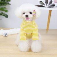 Dog Apparel Pet T-shirt Casual Clothes Shirt Breathable Stripe Pattern High Collar Cotton Spring Summer Puppy Blouse