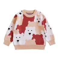 Ins Baby Jungen Mädchen Kleidung Gestrickte Pullover Langarm Cartoon Bär Design Pullover 100% Baumwolle Top Winter Warme Kleidung