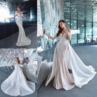 Vintage Lace Mermaid Wedding Dress With Detachable Train 2021 Sexy Off The Shoulder Appliqued Bridal Gowns Arabic Aso Ebi Vestido De Novia Plus Size Trumpet AL9363