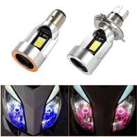 الأزرق / الوردي ملاك العين h4 led دراجة نارية المصباح BA20D HS1 H6 سكوتر دراجة نارية كشافات ضوء لمبة DRL الملحقات 12/24 فولت