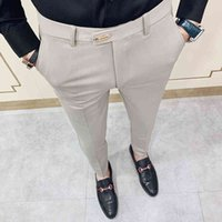 Повседневная Slim Fit Mens Dress Book Streetwears Полнометражный костюм Брюки Мужчины 34 Высококачественные джентльмены Офисные брюки Мужчины Все матч