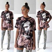 Heißes neues T-Shirt Frauen drucken Hemd Großhandel - Kleid sexy loch tupac hip-hop kurzarm t-shirt femme tops plus größe kleidung