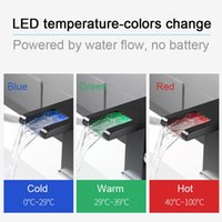 Bathroom Sink Faucets LED Waterfall Basin Faucet, Single Handle Cold Water Mixer Tap RGB Color Change Powered By Flow