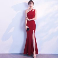 Party Dresses Mermaid One Shoulder Sexy Backless Navy Blue Prom Gown With High Slit White Sleevelss Evening Homecoming Luxury Long Dress
