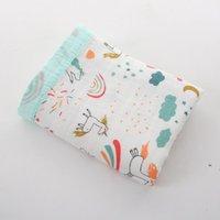 مطبوعة حمام منشفة الرضع Swaddling القماش بطانية الطفل أربعة طبقات من الخيزران الألياف المجمع الكرتون الوليد عربة يغطي 110 * 120 سنتيمتر OWC7388