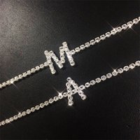 A-Z Letter Women Iced Out Chain Anklet Anklets Bracelet Sexy Barefoot Sandal Beach Foot Chains Bracelet for Lady Party Jewelry Gift 296 W2