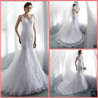 Latest Style white tulle mermaid wedding dress sleeveless lace appliques beaded court train bridal gowns illusion back sexy fashion v neck bride dresses custom made