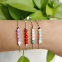 (1pc / lot) sieraden 4mm kralen armband met 925 zilver met 5 opaal ronde bal synthetische opaal armbanden cadeau