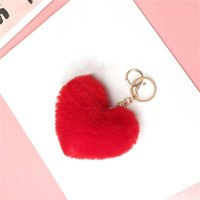 Bag Parts & Accessories Girl Hang Car Key Ring Pendant Lovely Heart Keychains Women's Pom Poms Faux Rex Fur Chains