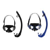 Máscaras de mergulho adulto Silicone mergulho mergulho nadar nadar snorkeling óculos máscara máscara snorkel conjunto preto / azul