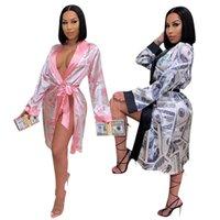 Ev Ipek Sense ABD Banknot Baskı Kadın Tasarımcılar Giysileri 2021 kadın Rahat Seksi Gevşek Pijama Elbise ve Etek