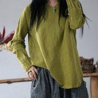 Johnature Kadınlar T Shirt Gevşek Keten Katı Renk Vintage Keten 2020 Bahar Yeni Katı Renk V Boyun Uzun Kollu Gevşek T Shirt Ama T Shirt J4VY #