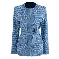 Women's Jackets Blue Ripped Jean Jacket 2021 Autumn Women Sexy Hollow Out Hole Fringe Denim Retro O-Neck Long Sleeve Belt Coat Streetwear