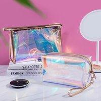 Borse per il trucco laser Viaggi Borsa cosmetica Organizzatore Transparente Pennello per il trucco Trucco impermeabile Custodia cosmetica per le donne 210226