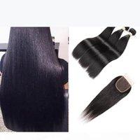 Brazilian Straight Hair 3 Bundels With Lace Closure Remy Human Hair Bundles 4PCS PACK 4*4 lace Closure