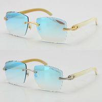 Diamante sem aro Corte 3524012 - um branco genuíno búfalo original búfalo sunglasses moda de alta qualidade lentes esculpidas multi óculos unisex ouro metal frame óculos