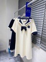 2021 Street Ocio Vestidos Mujeres Moda Designer Faldas Manga corta Top Comfort Algodón Verano Materiales de arriba a nivel superior de alta calidad ODALE Bowknot A-en forma de versión