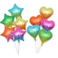 10 adet 18 inç Degrade Coloral Folyo Balon Kalp Yıldız Şekilli Parti Düğün Sevgililer Günü Doğum Günü Partisi Süslemeleri