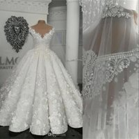 Luxury Ball Gown Wedding Dresses Bride Dress Jewel Neck Illusion Crystal Beads 3D Flowers Cap Sleeves Arabic Bridal Gowns Middle East Vestido De Novia
