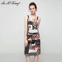 Vestidos casuais seasixiang designer de moda verão vestido mulheres espaguete strap strapless dobra floral impressão slim vintage