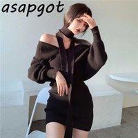 Sexy Fashion Korean Chic Wild Autumn Black V Neck Lantern Long Sleeve Knitted Sweaters Dress Lady Mini Elegant Slim Qualities 210610