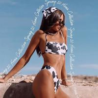 여성용 수영복 섹시한 비키니는 Mujer 암소 인쇄 수영복 여성 2pcs 여성 해변을위한 바이 킬리 니 양복 수영복 수영복