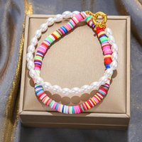Choços Bohemian Moda Arco-íris Color Geométrico Oval Pérola Pérudia Polímero Polímero Clay Beads Gargantilha Colares Para As Mulheres Partido Jóias