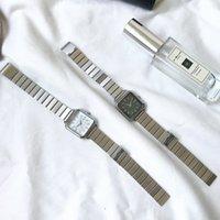 مصمم العلامة التجارية الفاخرة الساعات الفضية المرأة es ulzzang رائعة الفولاذ المقاوم للصدأ السيدات السيدات الأزياء الحد الأدنى الإناث كوارتز ساعة