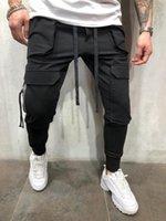 Calças masculinas rua trabalho roupas esportes jogging bolso slim simwood vestuário jeans