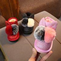 Маленькие девочки сапоги Bunny Pom Poms Glitter Bandkle Boot Faux Mur Pink Red Black Boots 2019 Новые Теплые Снежные Ботинки Sandq Baby 1071 Y2
