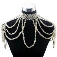 Fleurosy longue chaîne de perles Chunumy Collier de perles simulée Bijoux corporels pour femme Costume Costume Pendentif Déclaration Collier nouveau 210331