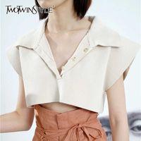 Twotwinstyle preto minimalista curto tops para mulheres lapela manga curta sólida camisola de malha feminina moda nova roupa 2021 x0721