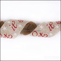 Christmas Decorations Festive Party Supplies Home & Garden10M Roll 6.3Cm Jute Burlap Printed Cotton Lace Ribbon Sewing Fabric Wedding Decora