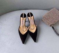 Bayan gelinlik sandalet yüksek topuklu siyah süet stiletto saten kristal süsleme ile pompalar bahar yaz sandalet lüks tasarımcı ayakkabı