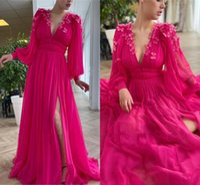 2021 Fuchsia Handmade Flowers Arabic Aso Ebi Evening Dresses Deep V Neck Long Sleeves A Line Prom Party Gowns Sexy Side Slit Sweep Train Women Formal Wear AL9067