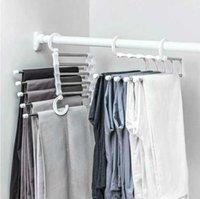 Ganchos mágicos multifuncionais quadro cinco-em-um calças de aço inoxidável rack de cinco camadas calças clipe clipe armazenamento de armazenamento dobrável cabide telescópico