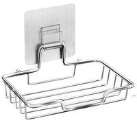 Fabrik Edelstahl Seife Spülhalter mit Aufkleber Rack Tablett Selbstdraing Sparer Korb Schwamm Badezimmer Küche Owe5625