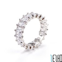 Couple Gemstone Eternal Love Iced Out Wedding Ring White Diamond S925 Sterling Silver Rings For Women Sister Engagement Promise Wed Jewelry 6 Colors 4g Wholesale