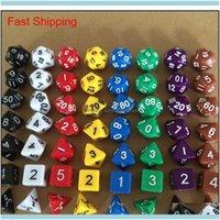 Gambentando juegos de ocio deportes al aire libre7pcs / set creative rpg juego DD colorido multicolor dados mezclados blancos d4 d6 d8 d10 d12 d20 dn qyliju dr