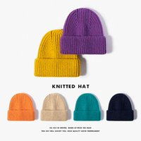 2021 foreign style hat new winter three needle thickened warm men's knitted cross-border leisure fashion monochrome simple cold autumn women's soft comfortable wool